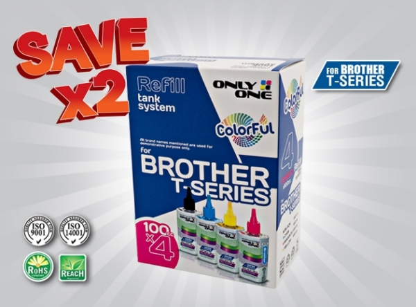ONLY ONE Refill Inkjet 4 Colors For Brother T Series (Dye ink)